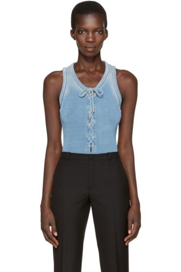 Balmain - Blue Lace-Up Bodysuit
