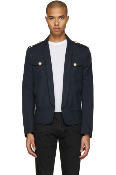 Balmain - Navy Shawl Collar Military Blazer