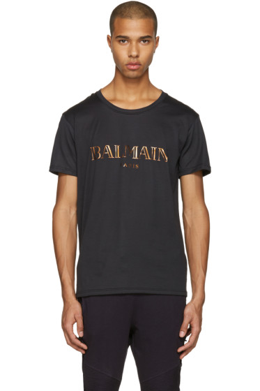 Balmain - Black Mylar Logo T-Shirt