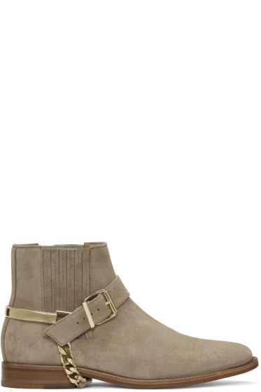 Balmain - Beige Suede Eperon Boots