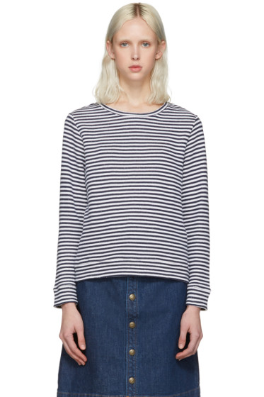 A.P.C. - White Striped Pullover