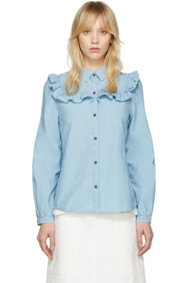A.P.C. - Indigo Chambray Memphis Shirt