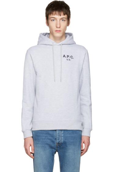 A.P.C. - Grey 'US' Logo Hoodie
