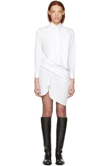 Junya Watanabe - ホワイト ドレープ シャツ ドレス