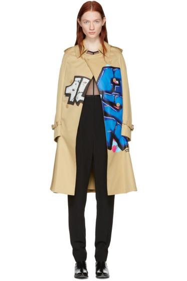 Junya Watanabe - Beige Grafitti Cape Trench Coat