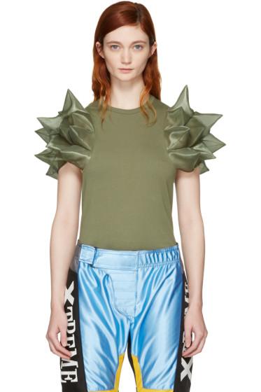 Junya Watanabe - Green Geometric Sleeve T-Shirt