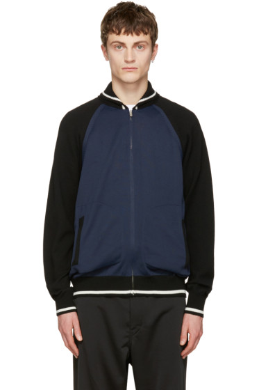 Junya Watanabe - Navy 'Japan' Eagle Zip-Up Sweater