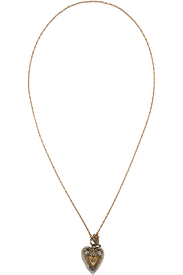 Alexander McQueen - Silver & Gold Heart Locket Necklace