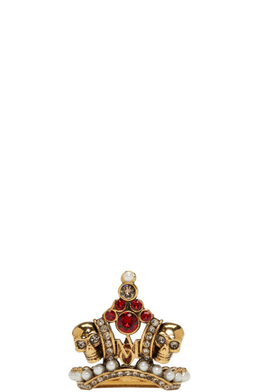 Alexander McQueen - Gold Crown Skull Ring