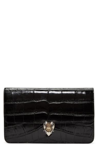 Alexander McQueen - Black Croc-Embossed Heart Envelope Clutch