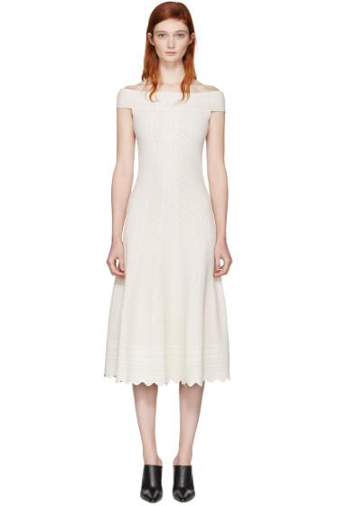 Alexander McQueen - Ivory Jacquard Off-the-Shoulder Dress