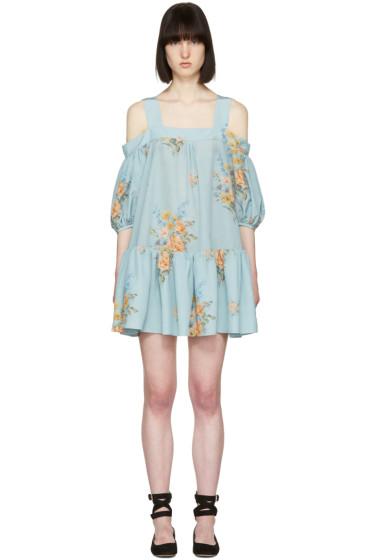 Alexander McQueen - Blue Floral Off-the-Shoulder Dress