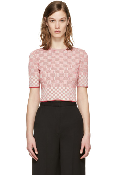 Alexander McQueen - Red Jacquard Check Pullover
