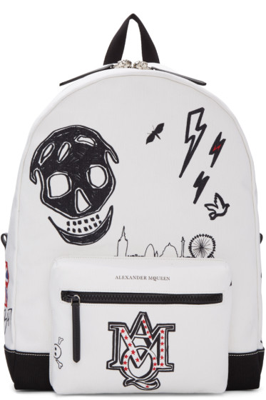 Alexander McQueen - White Canvas Doodle Backpack