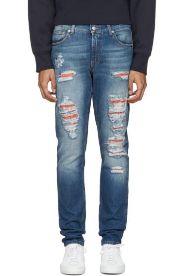 Alexander McQueen - Jean à effet usé bleu