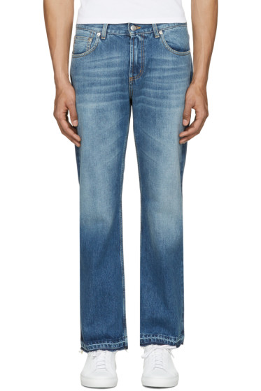 Alexander McQueen - Jean à jambe droite bleu