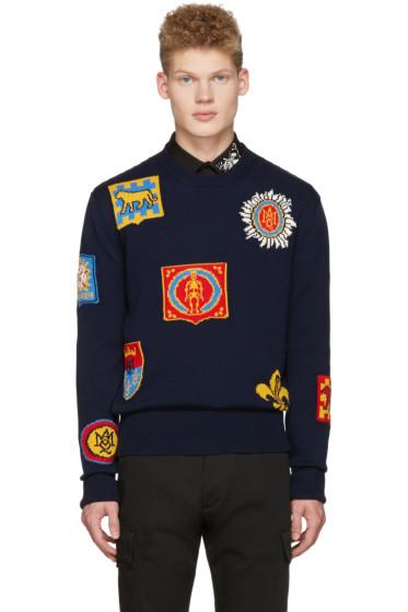 Alexander McQueen - Navy Jacquard Badge Pullover