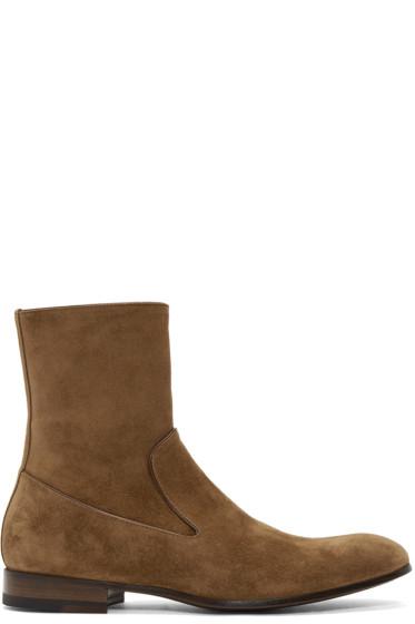 Alexander McQueen - Tan Suede Zip-Up Boots