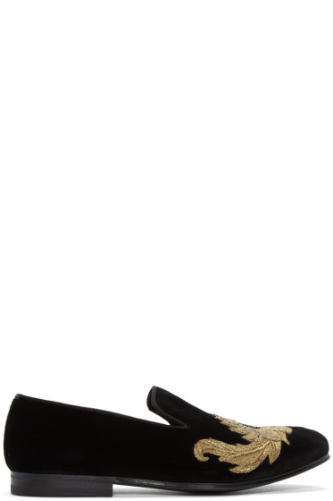 Alexander McQueen - Black Sunflower Loafers