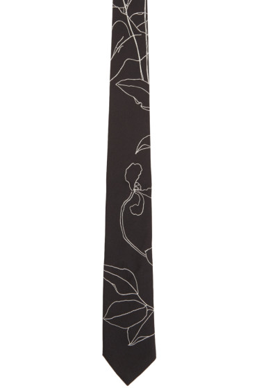 Paul Smith - Black Botanical Tie