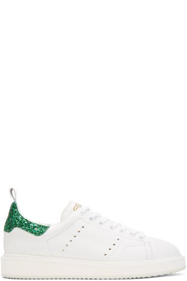 Golden Goose - White Glitter Starter Sneakers