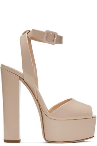 Giuseppe Zanotti - Beige Patent Lavinia Platform Sandals