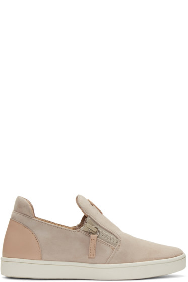 Giuseppe Zanotti - Pink Suede London Slip-On Sneakers