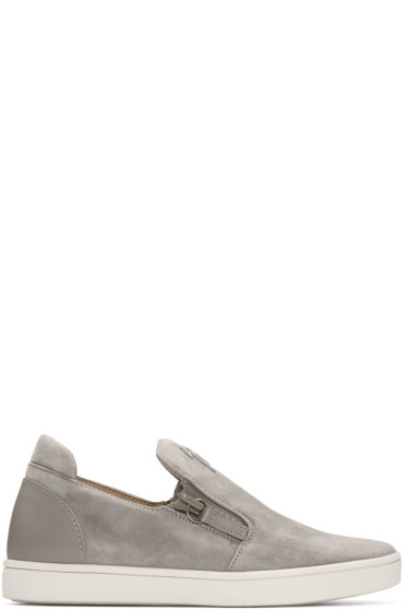 Giuseppe Zanotti - Grey Suede London Slip-On Sneakers
