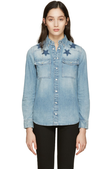 Givenchy - Blue Denim Washed Stars Shirt