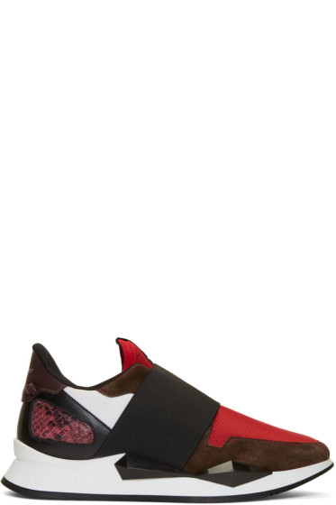 Givenchy - Burgundy & Red Runner Slip-On Sneakers