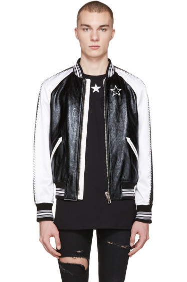Givenchy - Black Leather & Satin Bomber Jacket