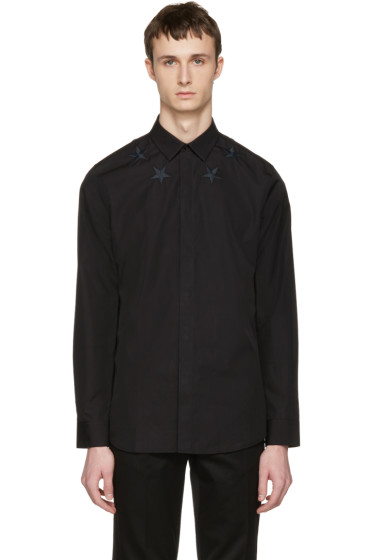 Givenchy - Black Embroidered Stars Shirt