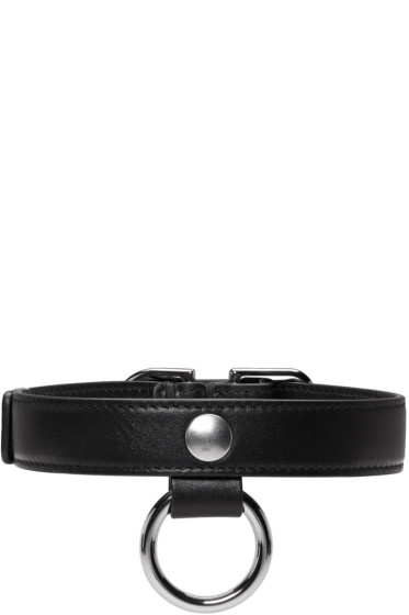 Carven - Black Leather Buckle Choker