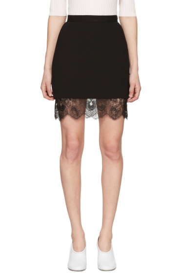 Carven - Black Lace Trim Miniskirt