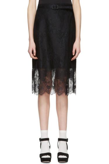 Carven - Black Belted Lace Dress