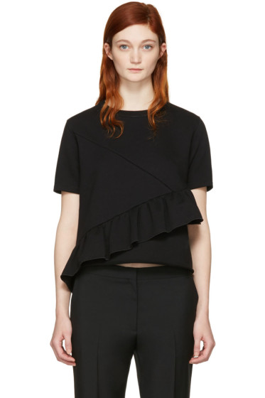Carven - Black Ruffle T-Shirt