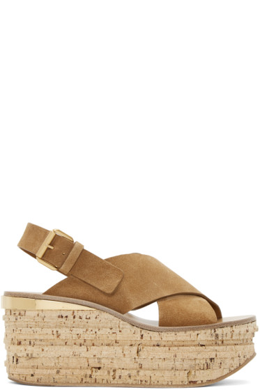 Chloé - Tan Camille Wedge Sandals