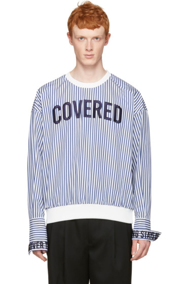Juun.J - White Striped 'Covered' Pullover