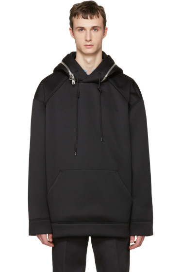 Juun.J - Black Oversized Zip-Around Hoodie