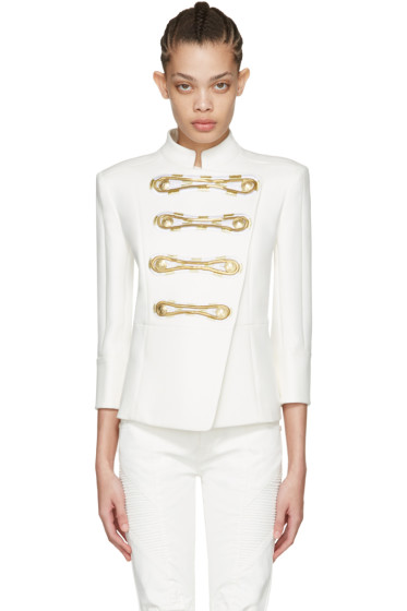 Pierre Balmain - Off-White Double-Breasted Blazer