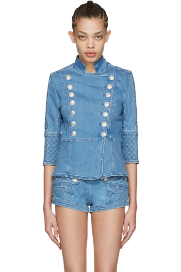 Pierre Balmain - Blue Denim Double-Breasted Jacket