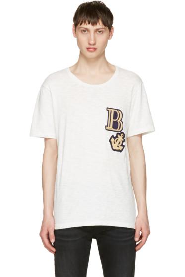 Pierre Balmain - Off-White Embroidered Logo T-Shirt