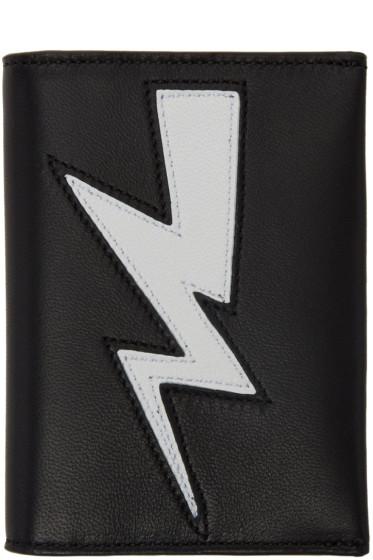 Neil Barrett - Black Thunderbolt Bifold Card Holder
