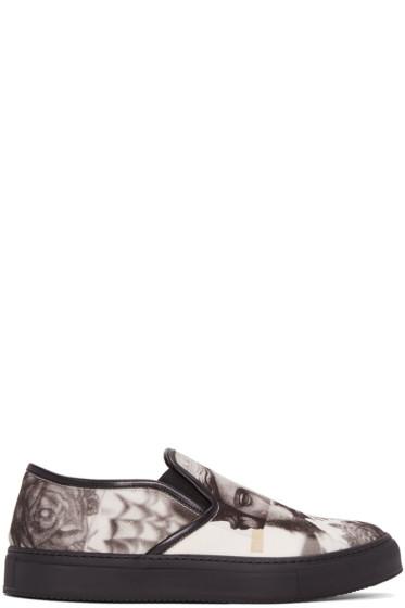 Neil Barrett - Black & White Tattoo Statue Slip-On Sneakers