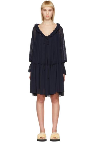 See by Chloé - Navy Gauze Jersey Dress