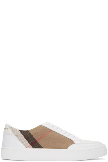 Burberry - White Salmond Check Sneakers
