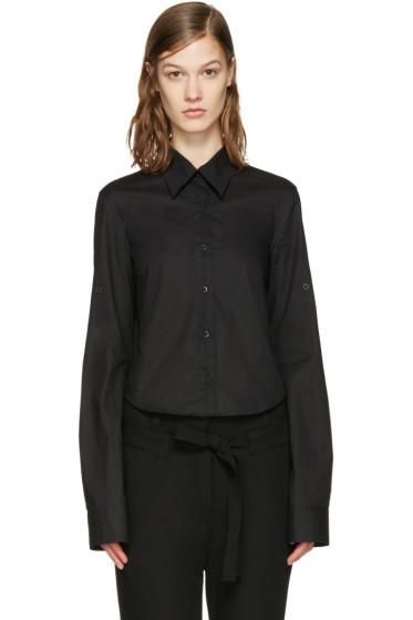 Ann Demeulemeester - Black Poplin Cropped Shirt