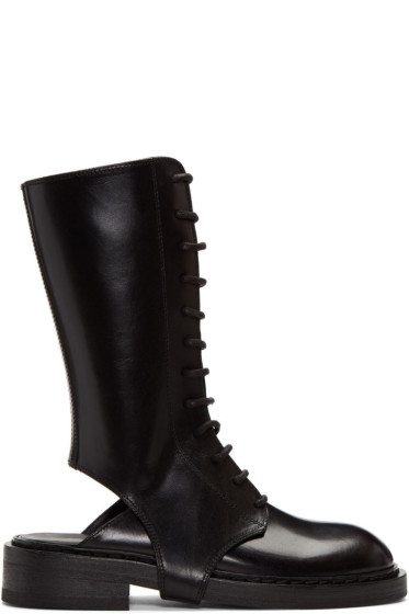 Ann Demeulemeester - Black Cutout Lace-Up Boots