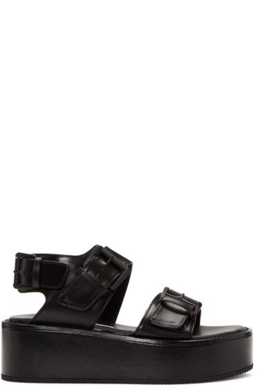 Ann Demeulemeester - Black Buckle Platform Sandals
