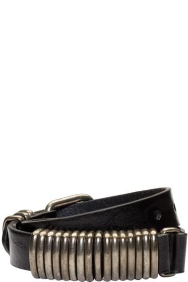 Ann Demeulemeester - Black Leather Slim Wrap Bracelet